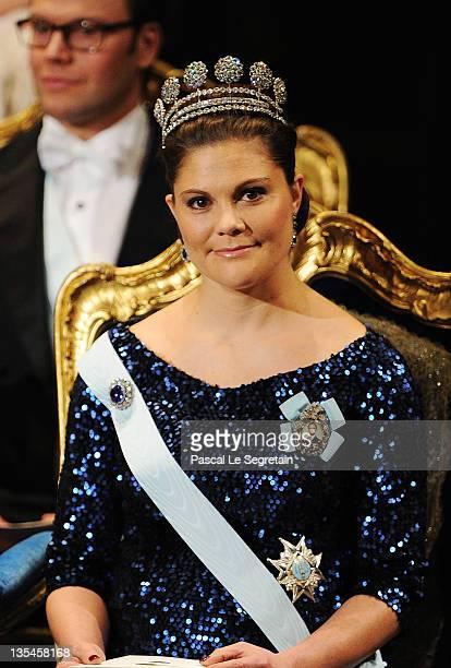 Crown Princess Victoria of Sweden attends the Nobel Prize Award Ceremony 2011 at Stockholm Concert Hall on December 10 2011 in Stockholm Sweden