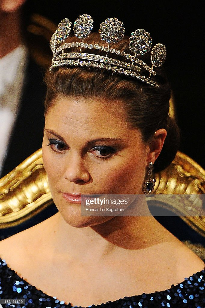 Crown Princess Victoria of Sweden attends the Nobel Prize Award Ceremony 2011 at Stockholm Concert Hall on December 10, 2011 in Stockholm, Sweden.