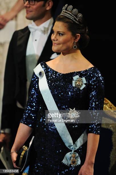 Crown Princess Victoria of Sweden attends the Nobel Prize Award Ceremony at Stockholm Concert Hall on December 10 2011 in Stockholm Sweden