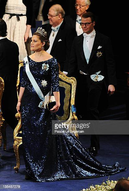 Crown Princess Victoria of Sweden attends the Nobel Prize Award Ceremony at Stockholm Concert Hall on December 10 2011 in Stockholm Sweden