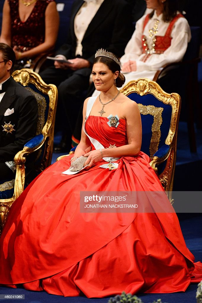Crown Princess Victoria of Sweden attends the Nobel Prize award ceremony for Medicine, Physics, Chemistry, Literature and Economic Sciences at the Stockholm Concert Hall on December 10, 2014. The Prize ceremony for the 2014 literature, medicine, chemistry, physics and economics Nobel laureates will be followed by the traditional banquet at the Stockholm city hall.