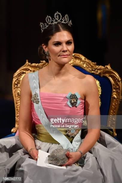 Crown Princess Victoria of Sweden attends the Nobel Prize Awards Ceremony at Concert Hall on December 10, 2018 in Stockholm, Sweden.