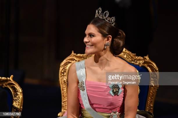 Crown Princess Victoria of Sweden attends the Nobel Prize Awards Ceremony at Concert Hall on December 10 2018 in Stockholm Sweden