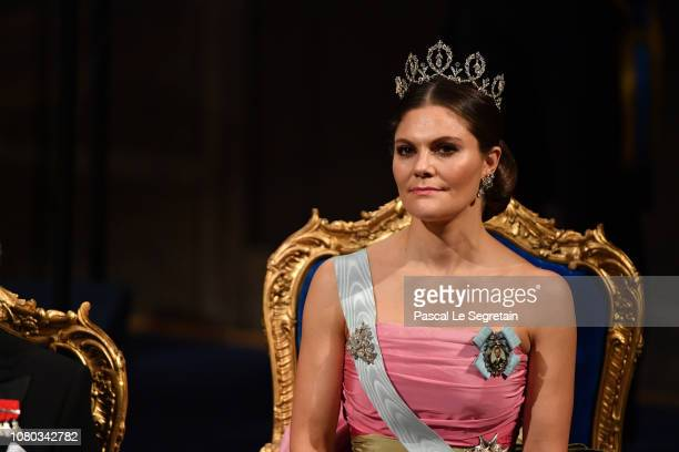 Crown Princess Victoria of Sweden attends the Nobel Prize Awards Ceremony at Concert Hall on December 10, 2018 in Stockholm, Sweden.