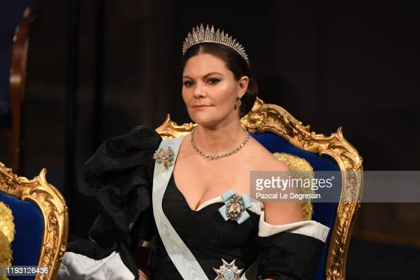 Crown Princess Victoria of Sweden attends the Nobel Prize Awards Ceremony at Concert Hall on December 10, 2019 in Stockholm, Sweden.