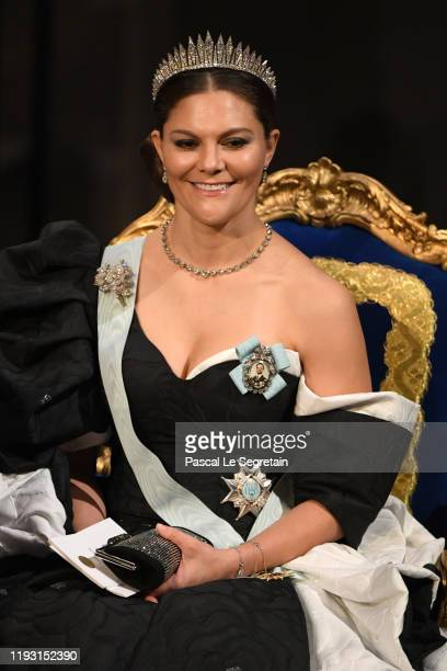 Crown Princess Victoria of Sweden attends the Nobel Prize Awards Ceremony at Concert Hall on December 10 2019 in Stockholm Sweden