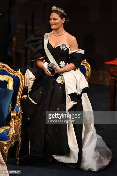 Crown Princess Victoria of Sweden attends the Nobel Prize Awards Ceremony at Concert Hall on December 10 2019 in Stockholm Sweden