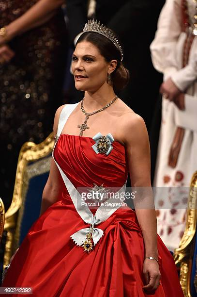 Crown Princess Victoria of Sweden attends the Nobel Prize Awards Ceremony at Concert Hall on December 10 2014 in Stockholm Sweden