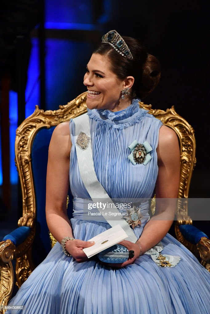 Crown Princess Victoria of Sweden attends the Nobel Prize Awards Ceremony at Concert Hall on December 10, 2017 in Stockholm, Sweden.