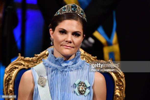 Crown Princess Victoria of Sweden attends the Nobel Prize Awards Ceremony at Concert Hall on December 10 2017 in Stockholm Sweden