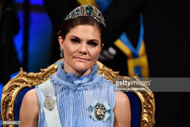 Crown Princess Victoria of Sweden attends the Nobel Prize Awards Ceremony at Concert Hall on December 10, 2017 in Stockholm, Sweden.