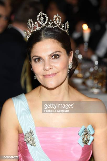 Crown Princess Victoria of Sweden attends the Nobel Prize Banquet 2018 at City Hall on December 10, 2018 in Stockholm, Sweden.
