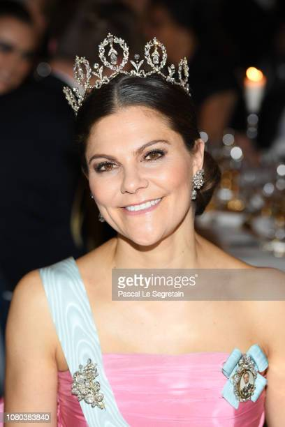 Crown Princess Victoria of Sweden attends the Nobel Prize Banquet 2018 at City Hall on December 10 2018 in Stockholm Sweden
