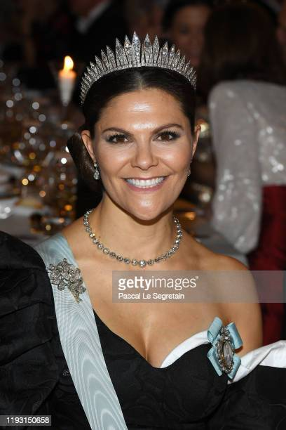 Crown Princess Victoria of Sweden attends the Nobel Prize Banquet 2018 at City Hall on December 10 2019 in Stockholm Sweden