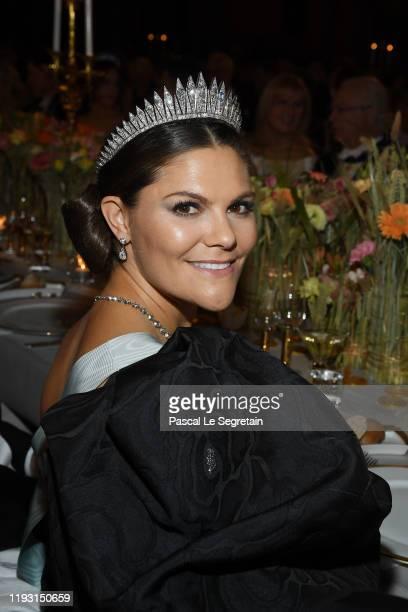 Crown Princess Victoria of Sweden attends the Nobel Prize Banquet 2018 at City Hall on December 10 2019 in Stockholm Sweden