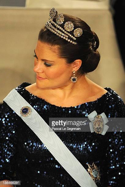 Crown Princess Victoria of Sweden attends the Nobel Prize Banquet at Stockholm City Hall on December 10 2011 in Stockholm Sweden