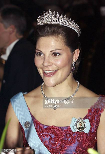 Crown Princess Victoria Of Sweden Attends The Nobel Prize Presentation Banquet At The City Hall In Stockholm. .