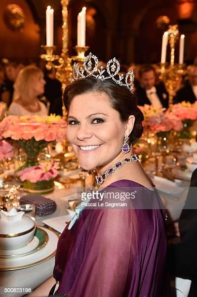 Crown Princess Victoria of Sweden attends the Nobel Prize Banquet 2015 at City Hall on December 10 2015 in Stockholm Sweden