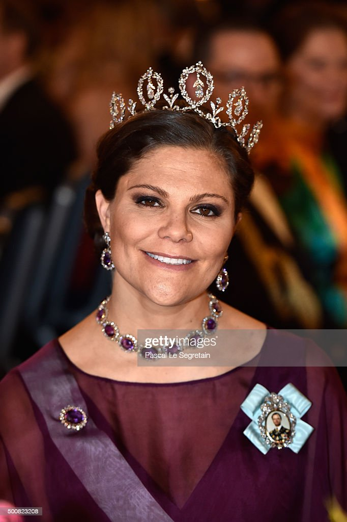 Crown Princess Victoria of Sweden attends the Nobel Prize Banquet 2015 at City Hall on December 10, 2015 in Stockholm, Sweden.