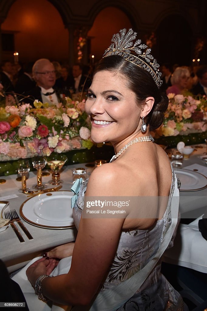 Crown Princess Victoria of Sweden attends the Nobel Prize Banquet 2015 at City Hall on December 10, 2016 in Stockholm, Sweden.