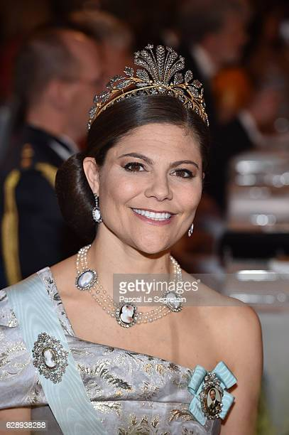 Crown Princess Victoria of Sweden attends the Nobel Prize Banquet 2015 at City Hall on December 10 2016 in Stockholm Sweden