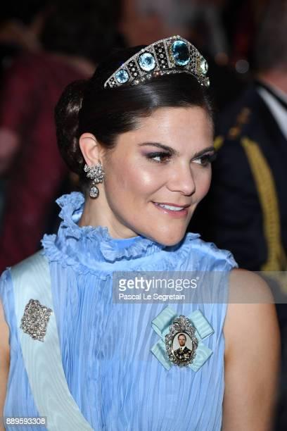 Crown Princess Victoria of Sweden attends the Nobel Prize Banquet 2017 at City Hall on December 10 2017 in Stockholm Sweden