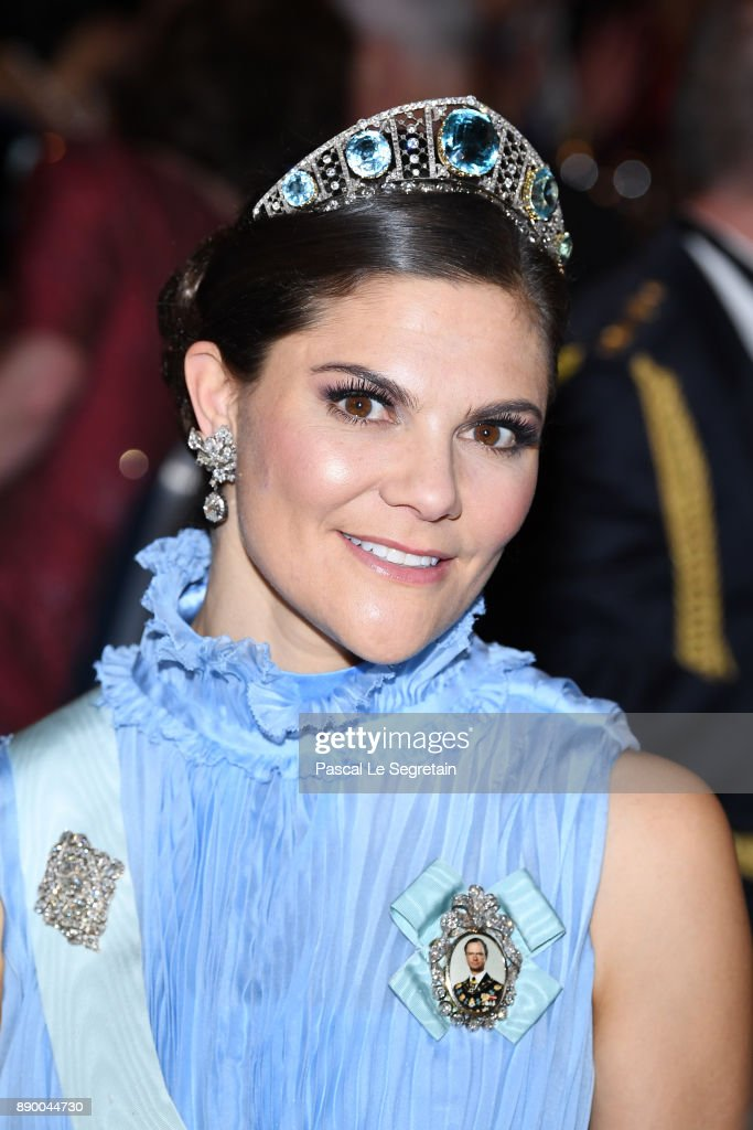 Crown Princess Victoria of Sweden attends the Nobel Prize Banquet 2017 at City Hall on December 10, 2017 in Stockholm, Sweden.