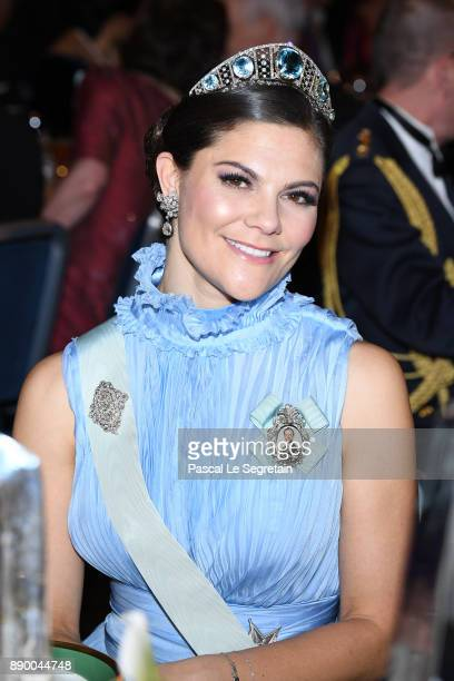 Crown Princess Victoria of Sweden attends the Nobel Prize Banquet 2017 at City Hall on December 10 2017 in Stockholm Sweden