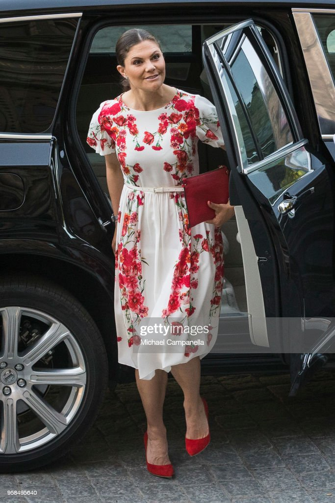 Crown Princess Victoria of Sweden attends the Nordic Museum and Skansen's Friends annual meeting in commemoration of their 100th anniversary at the Nordic Museum on May 14, 2018 in Stockholm, Sweden.