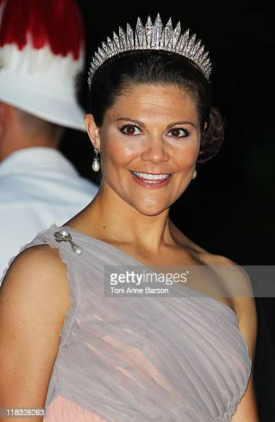 Crown Princess Victoria of Sweden attends the official dinner and firework celebrations at the Opera Terraces after the religious ceremony for the...