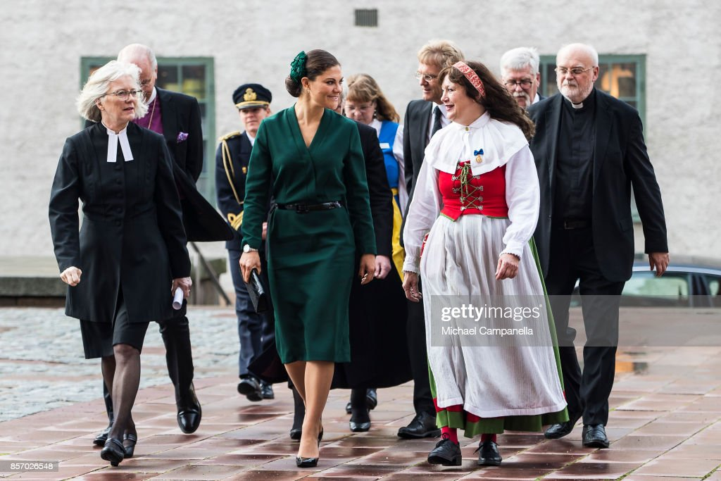Crown Princess Victoria of Sweden attends the opening of the Swedish Church meetings at Uppsala Cathedral on October 3, 2017 in Uppsala, Sweden.