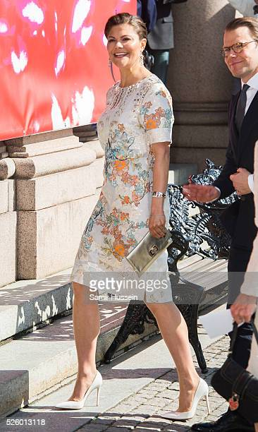 Crown Princess Victoria of Sweden attends the Royal Artistic Academies for King Carl Gustaf's 70th birthday on April 29 2016 in Stockholm Sweden