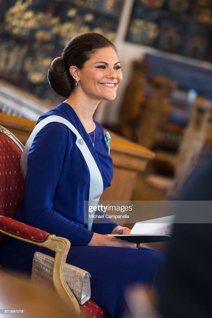 Crown Princess Victoria of Sweden attends the Royal Patriotic Society's annual event at Riddarhuset on April 25, 2017 in Stockholm, Sweden.