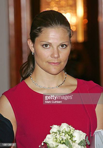 Crown Princess Victoria Of Sweden Attends The Swedish Chamber Of Commerce Centenary Conference At The Radisson Sas Portman Hotel In London. .