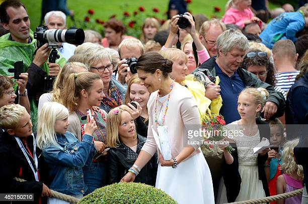 Crown Princess Victoria of Sweden attends the Victoria Day celebrations on her 37th Birthday at Solliden on July 14, 2014 in Oland, Sweden.
