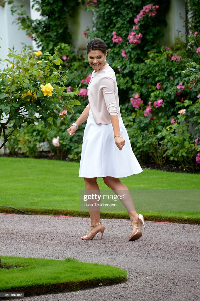 Crown Princess Victoria of Sweden attends the Victoria Day celebrations, on the Crown Princess's 37th Birthday, at Solliden on July 14, 2014 in Oland, Sweden.