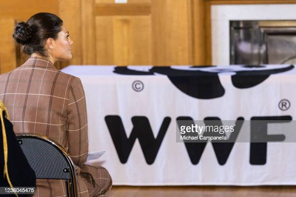 Crown Princess Victoria of Sweden attends the WWFs annual meeting at Ulriksdals Castle on October 22, 2021 in Solna, Sweden.
