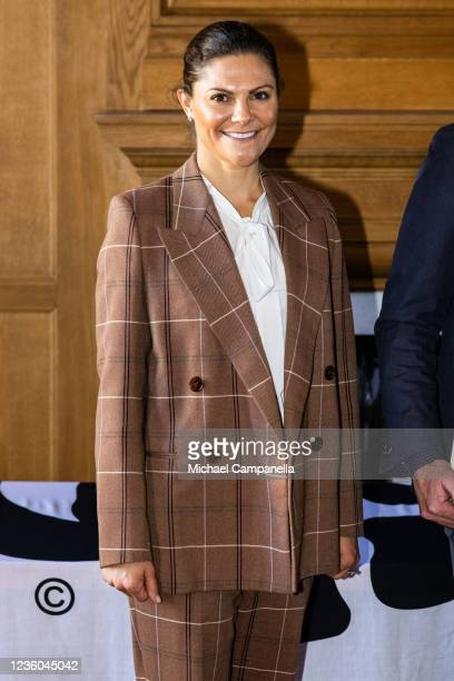 Crown Princess Victoria of Sweden award the 2022 Environmental Hero prize during the WWFs annual meeting at Ulriksdals Castle on October 22, 2021 in...