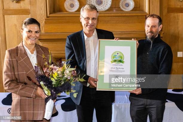 Crown Princess Victoria of Sweden awards the 2022 Environmental Hero of the Year prize to Martin Green during the WWFs annual meeting at Ulriksdals...