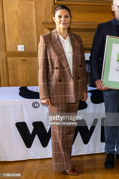 Crown Princess Victoria of Sweden awards the 2022 Environmental Hero prize during the WWFs annual meeting at Ulriksdals Castle on October 22, 2021 in...