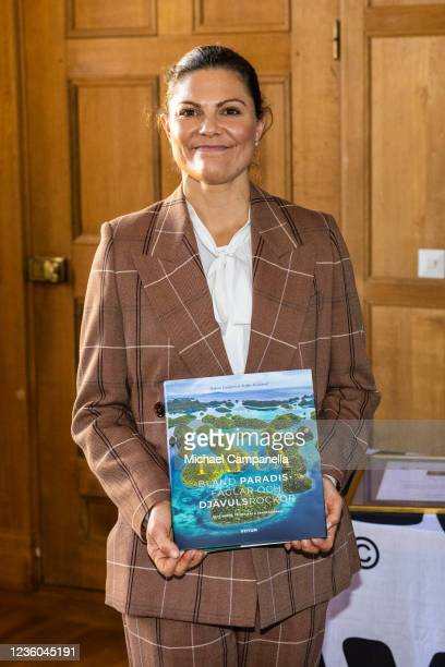 Crown Princess Victoria of Sweden awards the 2022 Panda Book Prize during the WWFs annual meeting at Ulriksdals Castle on October 22, 2021 in Solna,...