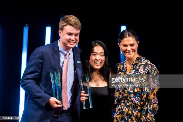 Crown Princess Victoria of Sweden awards the Stockholm Junior Water Prize to Ryan Thorpe and Rachel Chang of the United States during a ceremony for...