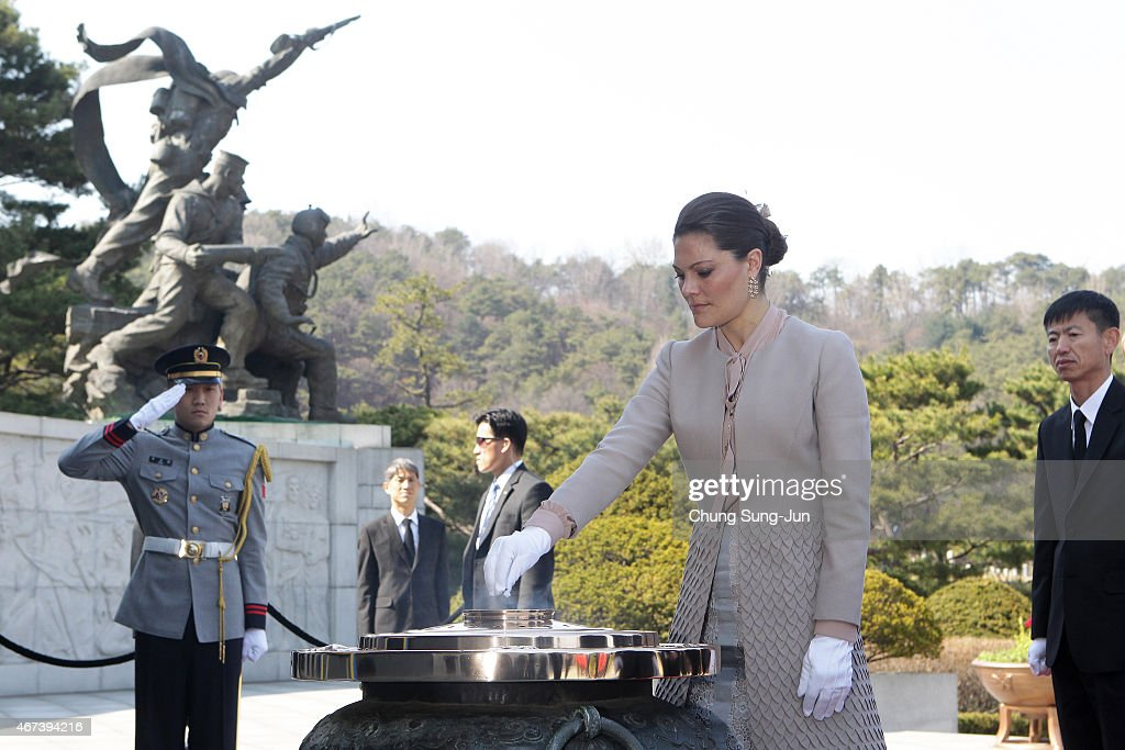 Crown Princess Victoria of Sweden burns incense at Seoul National Cemetery during her visit to South Korea on March 24, 2015 in Seoul, South Korea. H.R.H the Crown Princess of Sweden Victoria is visiting South Korea from March 23 to 24.