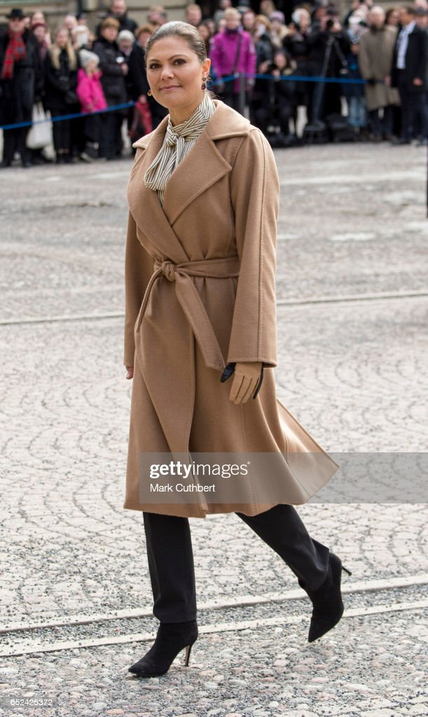 Crown Princess Victoria of Sweden celebrates her name day at The Royal Palace on March 12, 2017 in Stockholm, Sweden.