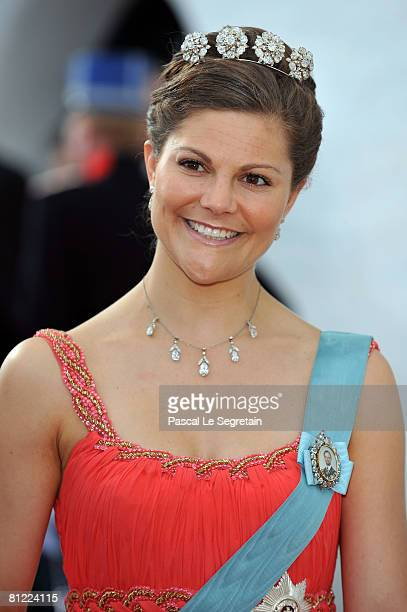 Crown Princess Victoria of Sweden departs after she attended the wedding between Prince Joachim of Denmark and Princess Marie of Denmark, Countess of...