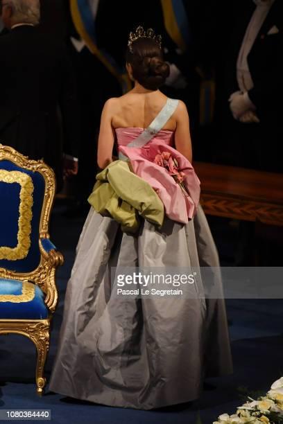 Crown Princess Victoria of Sweden dress detail attends the Nobel Prize Awards Ceremony at Concert Hall on December 10 2018 in Stockholm Sweden