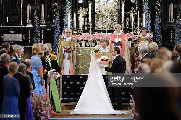 Crown Princess Victoria of Sweden Duchess of Vastergotland and her husband Prince Daniel Duke of Vastergotland are seen during their wedding ceremony...