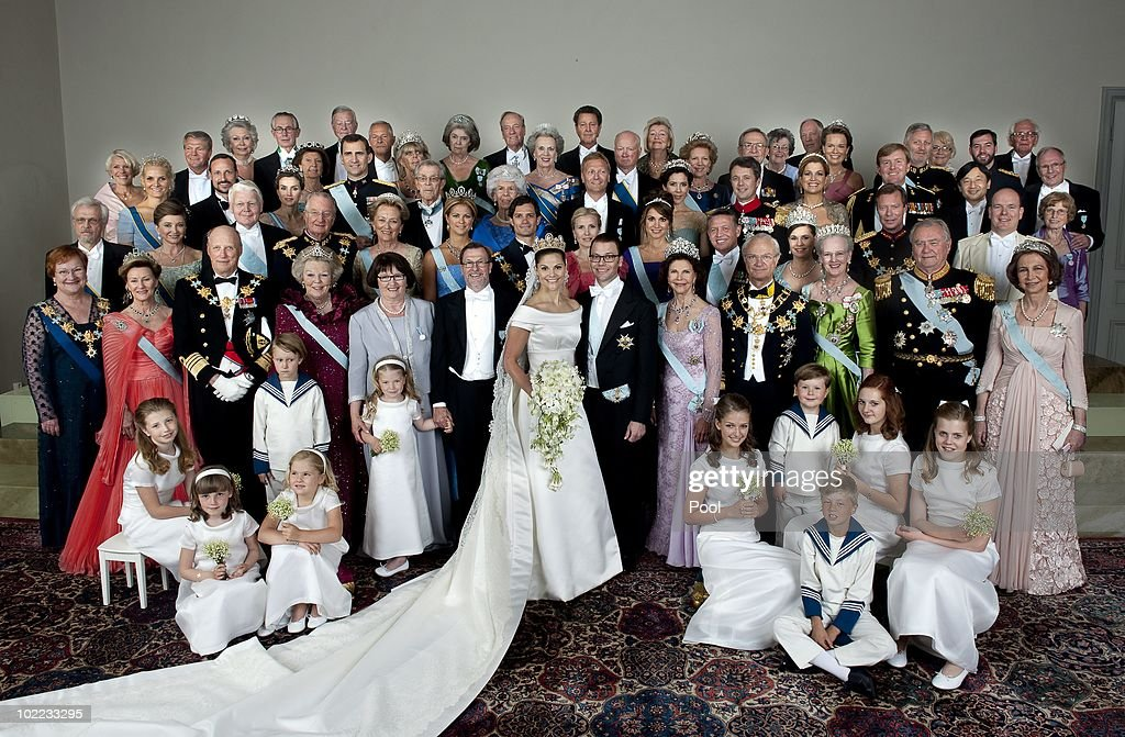 Crown Princess Victoria of Sweden, Duchess of Vastergotland, her husband Prince Daniel of Sweden, Duke of Vastergotland pose after their wedding ceremony with (L-R first row) President Mrs Tarja Halonen of Finland, Queen Sonja of Norway, King Harald V of Norway, Queen Beatrix of the Netherlands, Ewa Westling, Olle Westling, Queen Silvia of Sweden, King Carl Gustaf of Sweden, Queen Margrethe II of Denmark, Prince Henrik of Denmark, Queen Sofia of Spain, (L-R second row) Pentti Arajarvi, Dorrit Moussaieff, President Olafur Ragnar Grimsson of Iceland, Queen Paola of Belgium, King Albert, II of Belgium, Princess Madeleine of Sweden, Prince Carl Philip of Sweden, Anna Westling Blom, Queen Rania of Jordan, King Abdullah of Jordan, The Grand Duke Henri of Luxembourg, The Grand Duchess Maria Teresa of Luxembourg, Prince Albert of Monaco, (L-R third row) Crown Princess Mette-Marit of Norway, Crown Prince Haakon of Norway, Princess Letizia of Spain, Prince Felipe of Spain, Margaretha Ambler, Greve Carl Johan Bernadotte of Wisborg, Countess Gunnila Bernadotte of Wisborg, Mikael Soderstrom, Crown Princess Mary of Denmark, Crown Prince Frederik of Denmark, Crown Princess Maxima of the Netherlands, Crown Prince Willem-Alexander of the Netherlands, Crown Prince Naruhito of Japan. (L-R Fourth Row) Christina Magnusson, Tord Magnusson, Desiree Silfverschiold, Niclas Silfverschiold, Princess Birgitta of Sweden, Prince Johann Georg av Hohenzollern, Princess Benedikte of Denmark, Prince Richard zu Sayn-Wittgenstein-Berleburg, Queen Anne-Marie of Greece, King Constantine II of Greece, Princess Mathilde of Belgium, Crown Prince Philippe of Guillaume de Luxemburg, (L-R Back), Ingrid Sommerlath, Walter L Sommerlath, Anna-Britta Astrom, Hasse Astrom, Ann-Catrin Westling, Nils Westling, Ralf Toldeo Sommerlath, Anita Henriksson, Olle Henriksson, Birgitta Westling and Erik West on June 19, 2010 in Stockholm, Sweden.