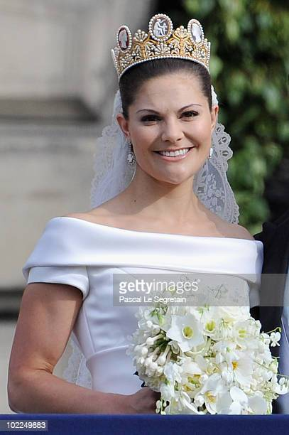 Crown Princess Victoria of Sweden Duchess of Vastergotland is seen after she married her husband Prince Daniel Duke of Vastergotland as they appear...