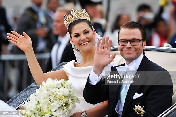 Crown Princess Victoria of Sweden, Duchess of Västergötland, and her husband Prince Daniel, Duke of Västergötland, are seen after their wedding...